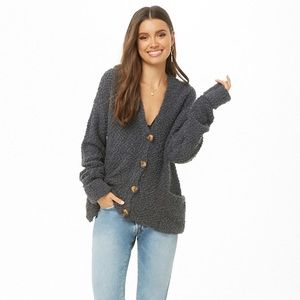 2c697a08e Forever 21. NWT fuzzy popcorn grey hooded cardigan ...